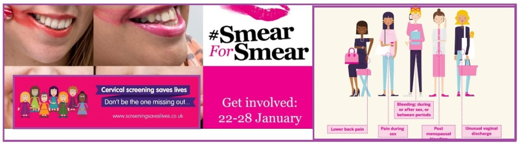 [a montage of images from Cervical Cancer Prevention Week, universally portraying cis, femme women with the colour pink dominating]